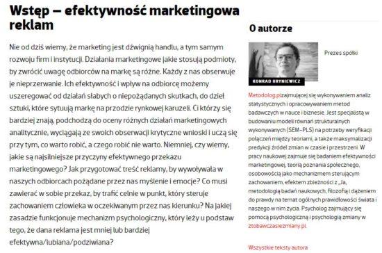Artykuł dla portalu NOWY MARKETING dotyczący relacji relacji osobowości z wartościowaniem treści marketingowych sprawczość wspólnotowość efektywność marketingowa
