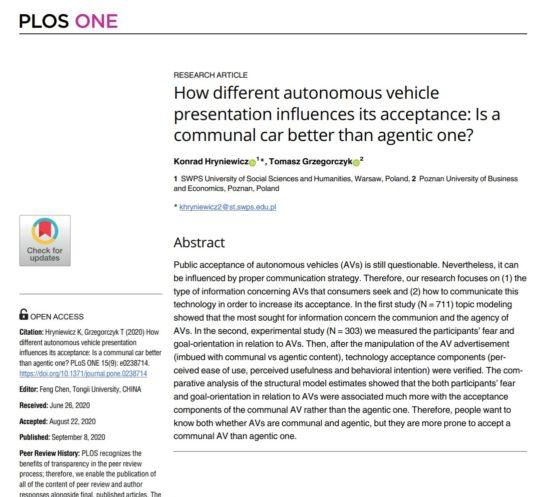 Konrad Hryniewicz Akceptacja psychologia akceptacji technologii autonomicznych samochodów marketing reklama